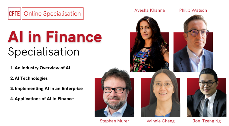an image showing the AI in Finance course by CFTE with experts senior lecturers