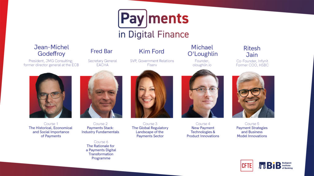 an image showing the Payments in digital finance course by CFTE with global payments experts