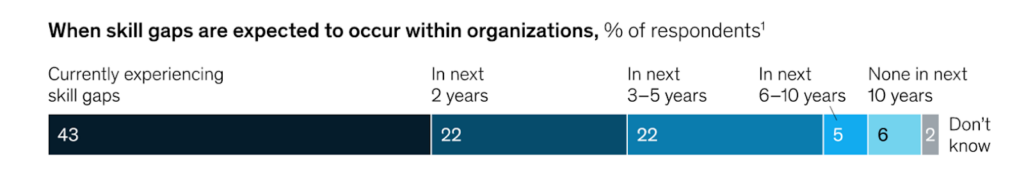 An infographic from McKinsey showing the skills gap expected within organisations